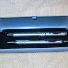 Chrome Pen Set with Snap Shut Box Older Unused Modern Design