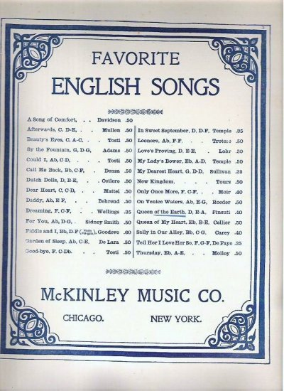 Queen of the Earth Sheet Music by Pinsuti and Jaxone Early 1900s