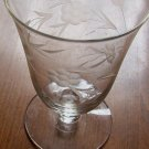 3 Etched Crystal Glass Set Floral Flower and Leaf Parfait Juice