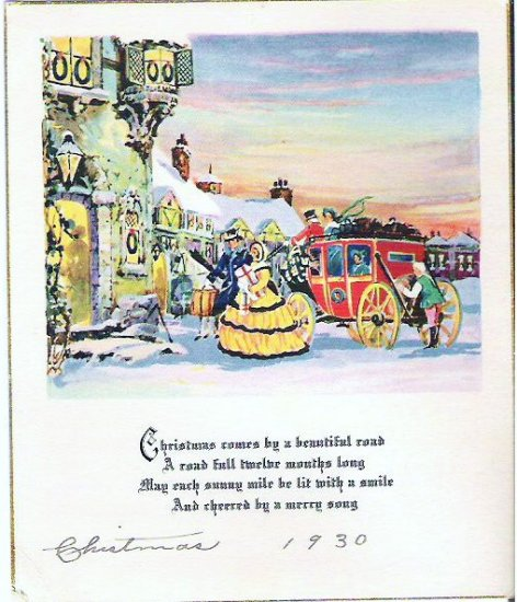 1930s Christmas Card - Man and Woman with Carriage