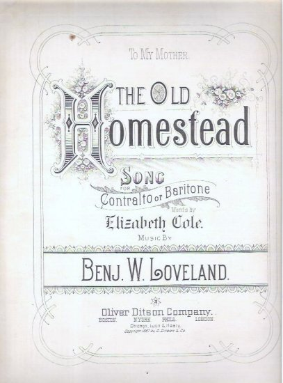 The Old Homestead Sheet Music E Cole and  B Loveland c1887