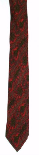 Botany Virgin Wool Clip On Necktie Neck tie RED, Brown, Green Print