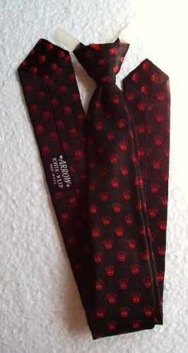 Arrow Kwik-Klip Necktie Pre-tied Vintage 1960s Red Crowns