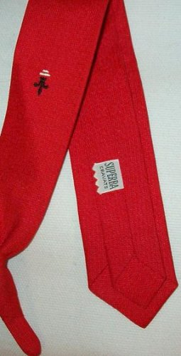 Superba Cravats Clip On Pre Tied Tie 1960s Vintage - Red