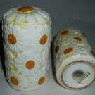 Flower Motif Salt and Pepper Shaker Set Mint Condition 1970s Era