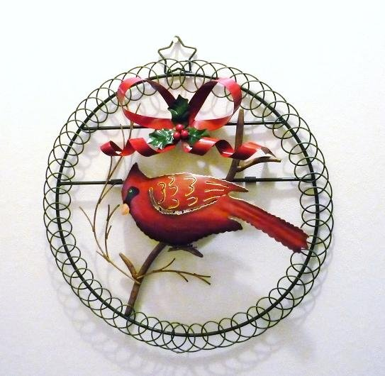 Christmas Holiday Cardinal on Wreath w/ Bow n Holly Tin and Metal