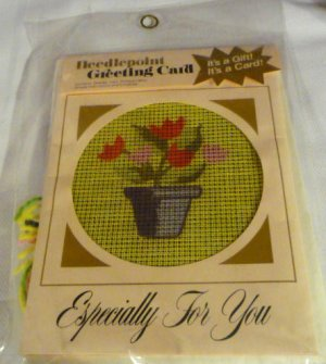 Make Your Own Needlepoint Greeting Card New in Package Kit - Tulips in a Flower Pot