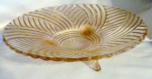 Anchor Hocking Prismatic 979 Swirl Rib Pink 3 Footed Bowl 1941 EC