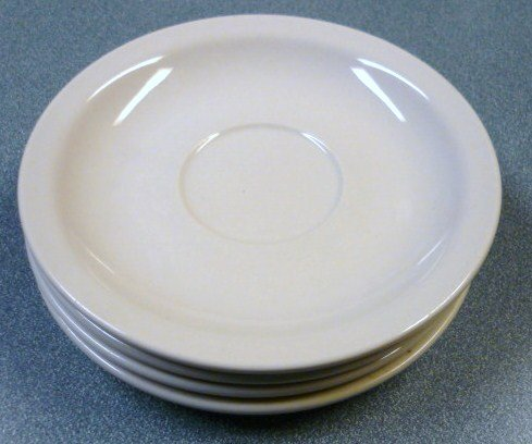 Lot of Four White Restaurant Ware Saucers