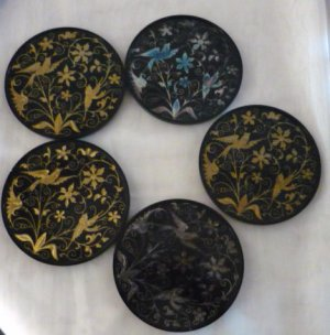 Lot of 13 Oversized Coasters Oriental Flowers and Bird Motif