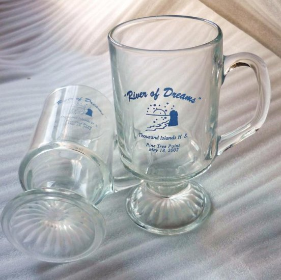 1000 Island High School Memento Glass Mugs Lot May 2002