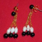 New in Box Avon Summer Earring Collection 1992 Dangling Faux Pearls and Black Beads