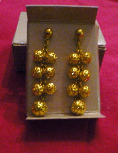 New in Box 1992 Avon Filigree Shower Earrings Gold Tone Dangle