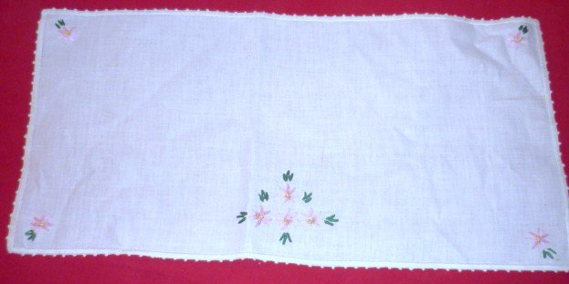 White Linen Embroidered Table Runner Vintage and Unused