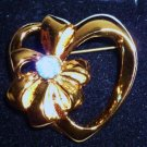 Avon March Birthstone Gold Tone Heart Pin Brooch 1992 New