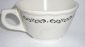 Buffalo China Restaurantware Cup White with Black Floral Pattern