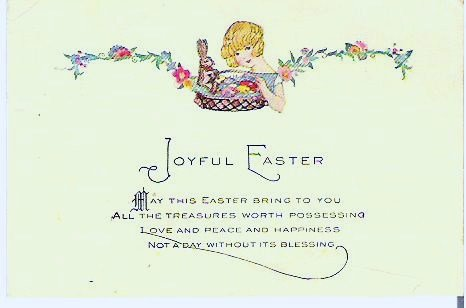 Vintage Easter Card Lady and Basket Early 1900s Unused