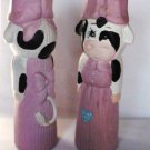 Hermitage Pottery Set of Lady Cows in Pink Candlestick Candle Stick Holders