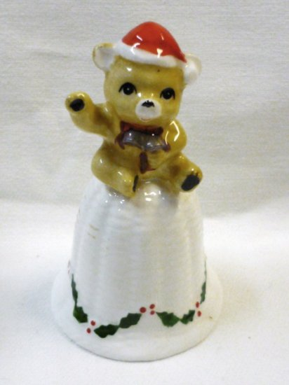Christmas Bear Bone China Bell Excellent Condition -As New