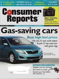Consumer Reports Magazine July 2008 Fans vs A/Cs Cars Rated for Gas Savings