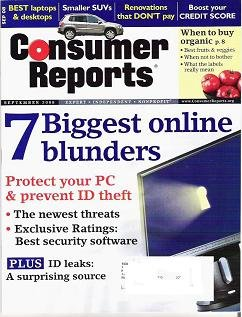Consumer Reports Magazine September 2008 Protect your P C Newest Threats