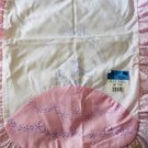 Nojae of Fairway Colonial Lady Scarf Stamped Embroidery Pink n White