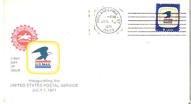 First Day Issue 7-1-71 Philadelpia N Y Inaugural 8 Cents Stamp