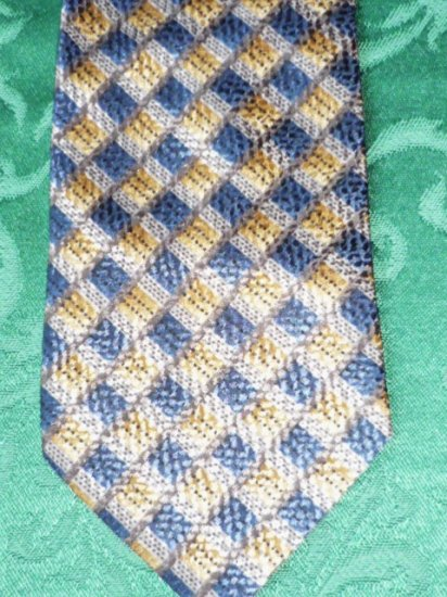 Roundtree and Yorke Silk Tie Handmade in Italy Blue Brown Gold