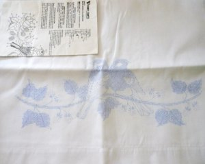 Pair of Vintage Pillow Cases to Embroider Unused Vogart Crafts