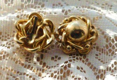 Golden Clip-on Flower Power Earrings 1970s Era