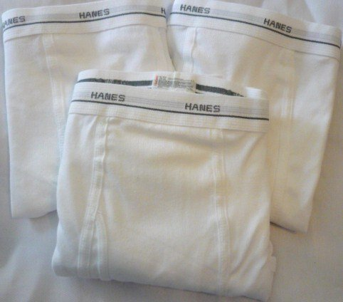 Four Pairs of Mens 3x White Hanes Cotton Briefs New wo Tag