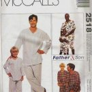 McCalls Uncut Pattern 2518 Father and Son Pajamas