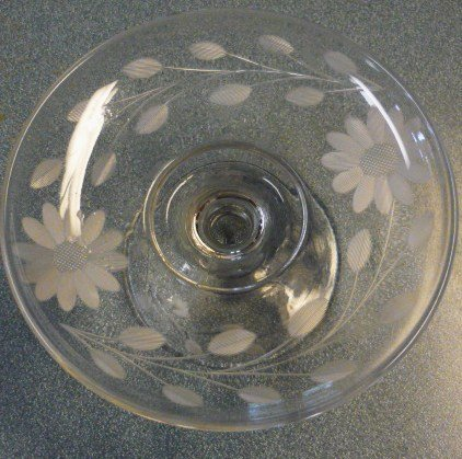 Etched Flower Tid Bit Relish Footed Bowl or Candle Base ELEGANT!