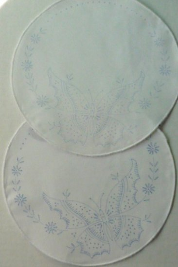 Two Doilies to Embroider or Paint - Butterfly Design