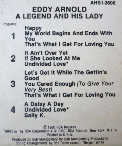 A Legend And His Lady - Eddy Arnold 1980 - Rare 8 Track