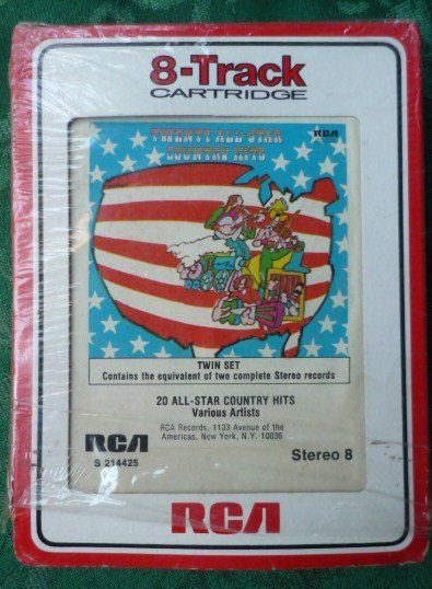 Rare 20 All-Star Country Hits 8 Track Cartridge Various Artists Twin Set