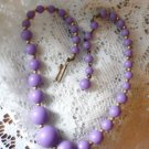 Graduated Purple Bead Choker with Gold Tone Beading