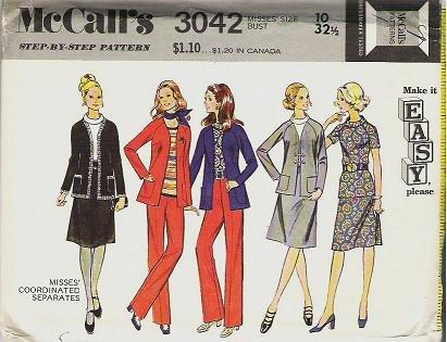 McCalls 1971 Pattern 3042 Size 10  Blouse Pants and Jacket