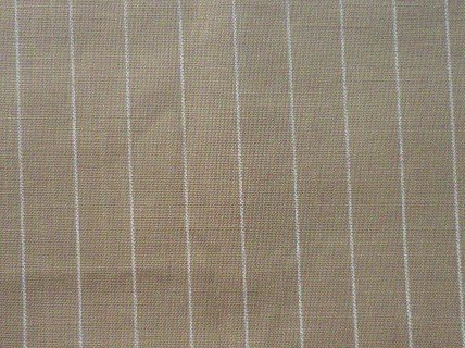 Tan and White Stripe Fabric Material 25 x 58 Silk or Linen Blend