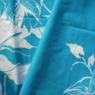 Two Aqua Blue and White Floral Pattern Material Fabric Pieces