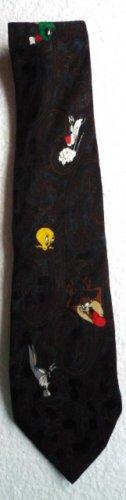 1994 Paisley Silk Tie Looney Tunes Necktie Taz Sylvester Bugs Tweetie Martian