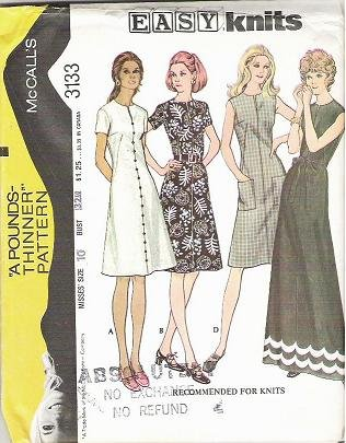 Uncut McCalls Easy Pattern 3133 Ladies Sz 10 Dress 1972