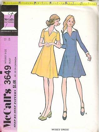 McCalls Uncut Pattern 3649 Ladies Dress Size 12