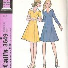 McCalls Uncut Pattern 3649 Ladies Dress Size 12