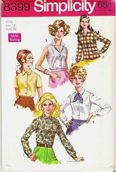 Simplicity Uncut Pattern 8399 Ladies Size 14 Blouses Shirts 1969