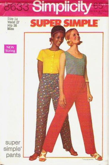 Uncut Simplicity Pattern 8633 Size 14 Super Simple Pants 1969