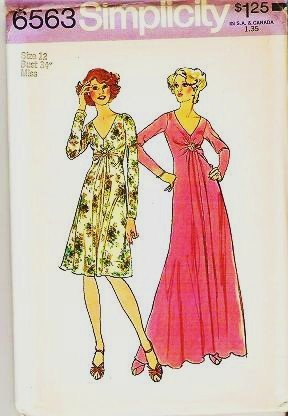 Uncut Simplicity Pattern 6563 Size 12 Long or Short Dress 1974