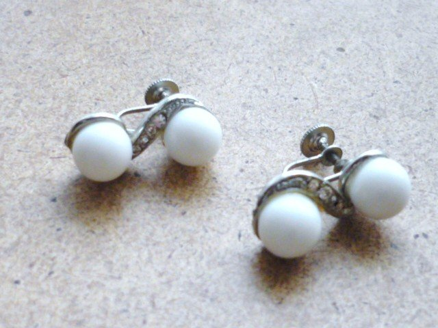 Vintage Screw Back Earrings Rhinestones with White Globes in Silver Tone