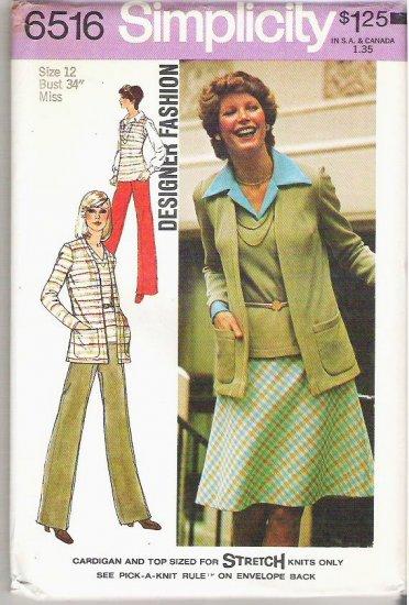 Uncut 1974 Simplicity Pattern 6516 Sz 12 Cardigan Top Skirt and Pants