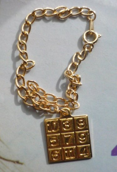 Fashion Jewelry - Gold Tone Bracelet With Numbers Charm New